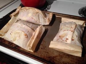 Parchment paper salmon packets!
