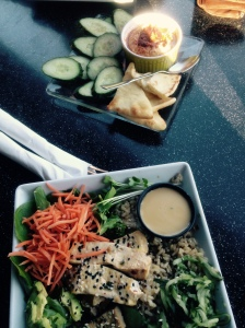 My meal from Tea Bar! Tofu bowl with Chipotle Sundried Tomato Hummus!