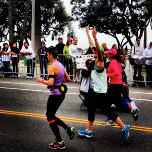 About to cross the finish line at the 2013 LA Marathon!